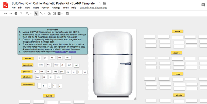 Build Your Own Online Magnetic Poetry Kit With Google Drawings