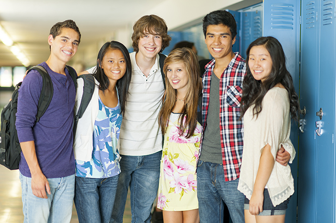 multiracial group of students