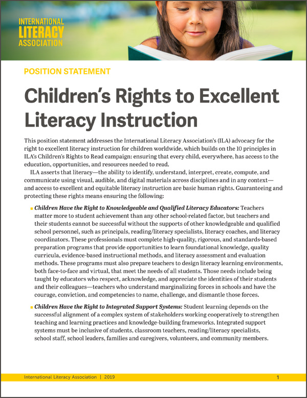 Position Statement: Children's Rights to Excellent Literacy Instruction